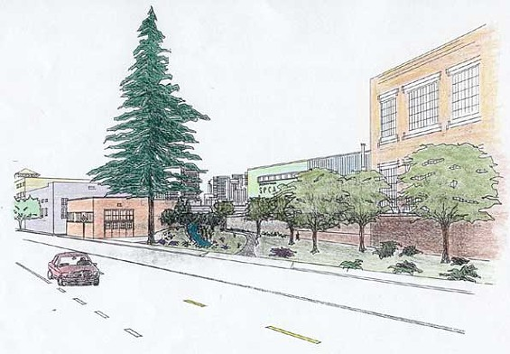 Rendering of bikeway entrance at 16th and Harrison - WWW.MISSIONCREEK.ORG