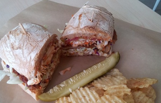Rhea's pork katsu sandwich. - PETE KANE