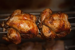 KIMBERLY SANDIE - Roostertail's spit-roasted free-range chicken.