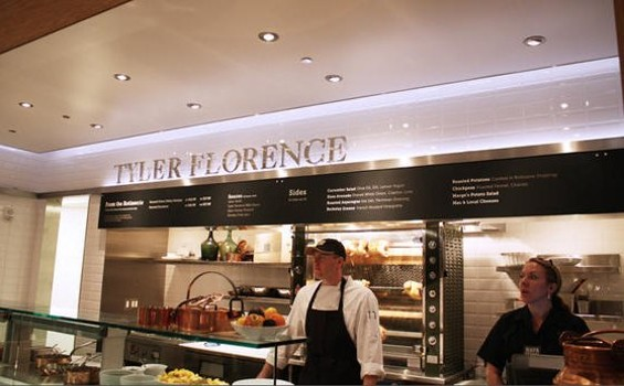 Rotisserie chickens from Tyler Florence: one of many upscale food options at SFO's new Terminal 2, which opened Thursday. - LUIS CHONG