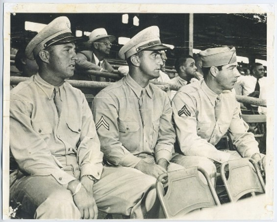 Rugger Ardizoia, Dario Lodigiani and Joe DiMaggio at the Service All-Stars game against a combined Hollywood Stars and Los Angeles Angels team in 1943.