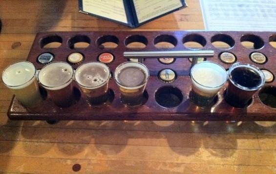 Russian River Brewing's Belgian-style beer sampler, $8. - JONATHAN KAUFFMAN