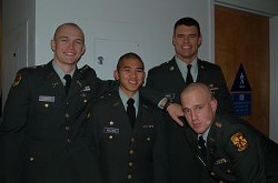 Ryan Caskey, far left, has pleaded not guilty to raping four fellow USF students. - HTTP://WWW.USFCA.EDU/ROTC/