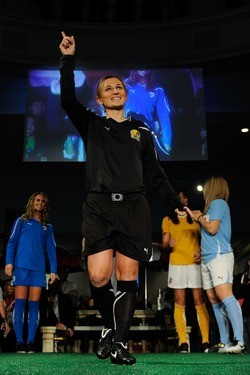 Sadly, Tiffeny Milbrett's F.C. Gold Pride uniform is now a collector's item