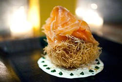 LARA HATA - Salmon on a nest of kataifi, which hides a poached egg.