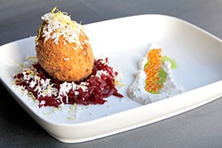 LARA HATA - Scotch Egg (Soft-boiled egg wrapped in brandade, served atop beet confit, with salmon row & creme fraiche)