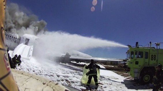 Screen shot of the video, shot from the helmet of a S.F. fire official