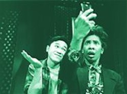 ADRIAN  ORDENANA - See Me, Feel Me: Only Jaxy Boyd (right) can see invisible man Robert Wu, but all the audience sees is heavy-handed concept.