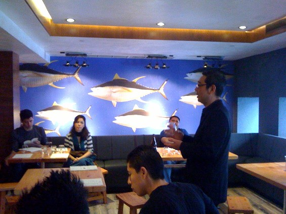 Seio Shimada of World Sake Importers in a recent staff training at Hecho.