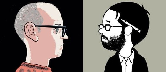 Self-portraits by Daniel Clowes (l) and Adrian Tomine (r)
