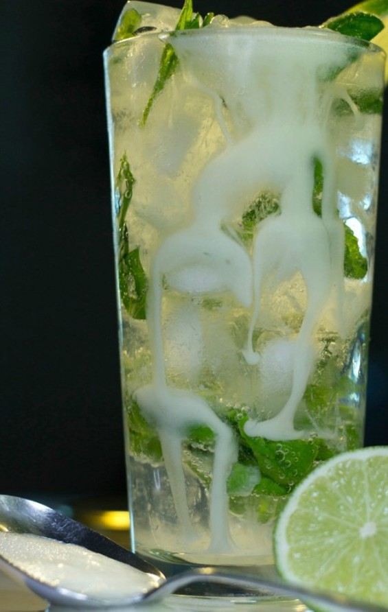 "THE ""MACHO MOJITO"" IS ENHANCED WITH A SPECIAL INGREDIENT."