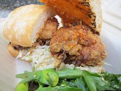 JONATHAN KAUFFMAN - Seoul Patch's fried chicken sando.