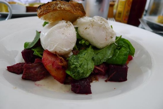 Serpentine's Red Flannel Hash, with braised brisket, beets, poached eggs and a horseradish creme fraiche