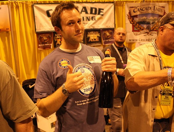 S.F. beer geek Jason Henry volunteering at the Cascade Brewing booth at last year's GABF. - BRIAN YAEGER