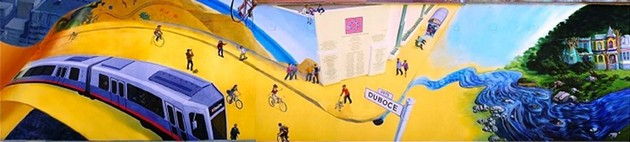 "Part of the ""Bikeway"" mural on Duboce Street. - MONA CARON / FEDERAL COURT DOCUMENTS"