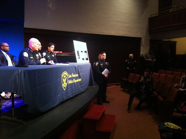 SFPD Chief Greg Suhr addresses the Mission District community at a town hall meeting on 17th and Guerrero streets Tuesday, Jan. 6, 2015. - MICHAEL BARBA