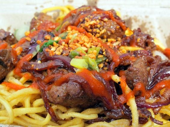 Shaking Beef Garlic Noodles - LOU BUSTAMANTE
