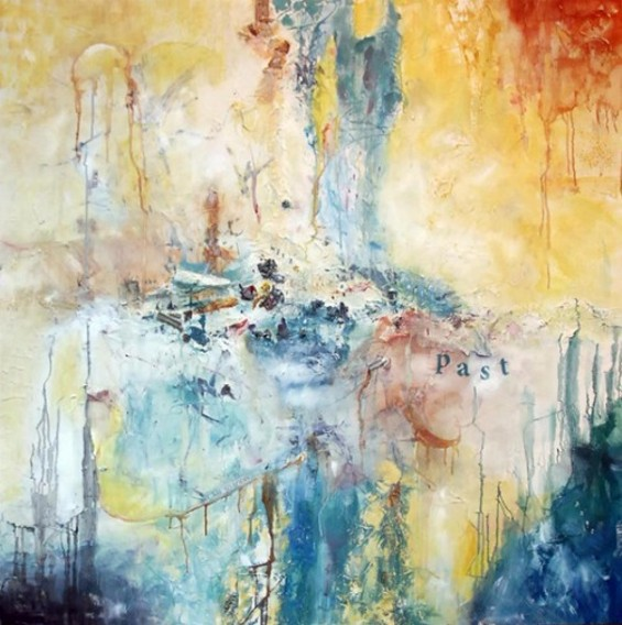"""""""She Comes With a Past"""" by Nadia Janjua (USA.) This painting is one of a five-painting series entitled """"She Comes With A Past: The Art of Healing,"""" which explores the experience of surviving childhood sexual abuse -- reflecting trauma, healing and transformation through abstraction and color."""