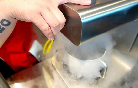 Smitten's nifty liquid-nitrogen ice cream machines. - FERRON SALNIKER