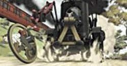 Smoke and Gears: Ray runs from a bigger, - smokier machine.