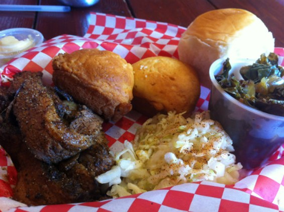 Smokey J's slow smoked brisket with collards and slaw. - MOLLY GORE