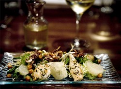 JEN SISKA - Squid salad with cumin-dusted chickpeas and mint-flecked grapefruit.