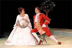 KEN BERNE - Stacy Ross (right) plays a princess who masquerades as a man.