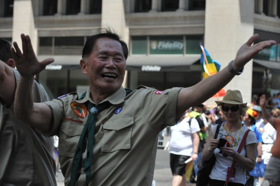 Star Trek's George Takai rocks the boyscout uniform for Pride. - C.S. MUNCY