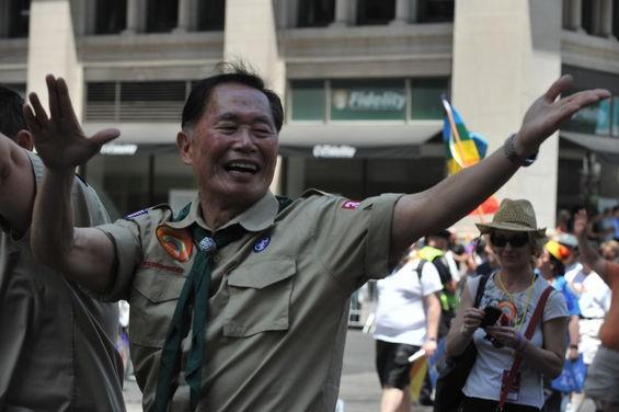 Star Trek's George Takai rocks the boyscout uniform for Pride. - C.S. MUNCY