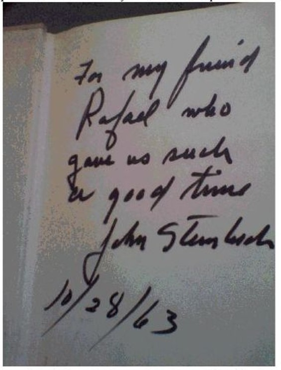 Steinbeck gave Aramyan a signed copy of his novel.