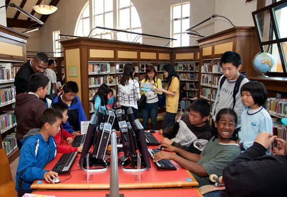 Students make full use of computers at the Visitacion Valley Branch library.