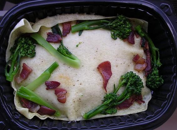 Sunchoke open ravioli with broccolini and bacon ($8.15). - JOHN BIRDSALL