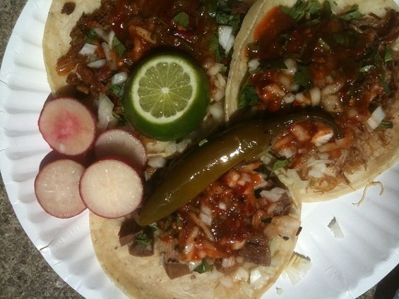 Taco trio: (clockwise from left) carnitas, al pastor, and lengua ($4.50). - CHRISTINEL./YELP