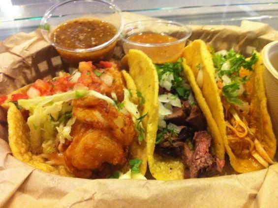 Taco Trio: Fish, Carne Asada, Chicken Tinga (in order)