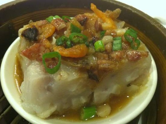 Taro cake with shrimp from Great Eastern. - JONATHAN KAUFFMAN