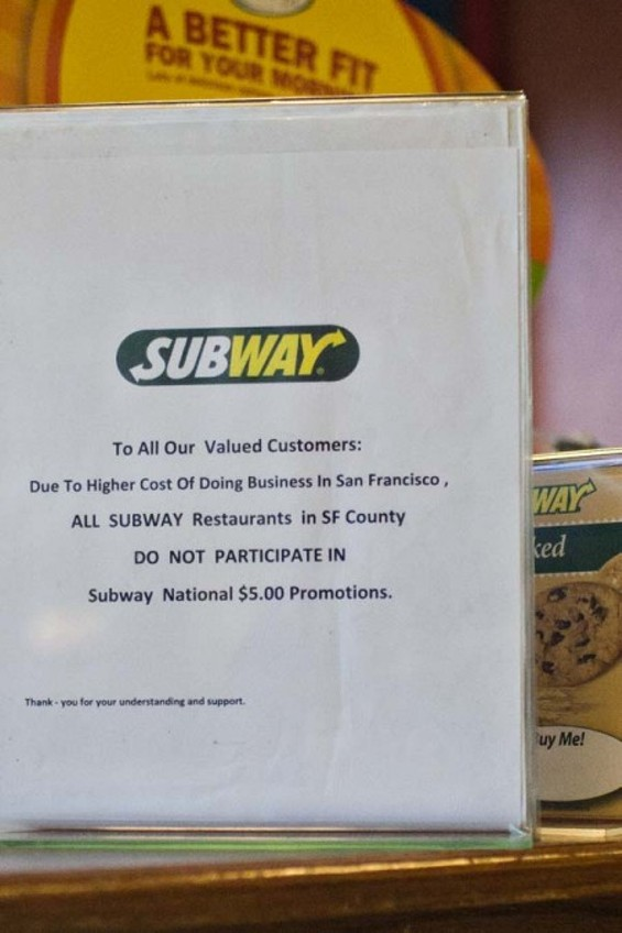 Telling them the commercial jingle is stuck in your head won't get you a $5 footlong in the city - JIM HERD, SFCITIZEN.COM