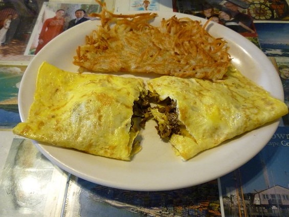 Teriyaki beef, cheese, and onions: The mysterious samurai omelet. - ALEX HOCHMAN