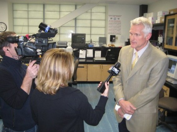 CRIME LAB MANAGER JAMES MUDGE GAVE A FACILITY TOUR TO THE MEDIA EARLIER THIS MONTH.