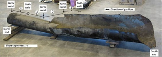 The 28-foot-long ruptured section of pipeline at the NTSB Training Center in Ashburn, Va. - NTSB