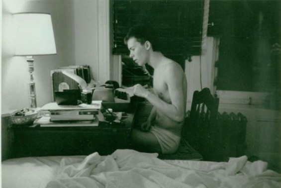 The author in his late teens, in front of Allen Ginsberg's typewriter - PHOTO CREDIT ALLEN GINSBERG