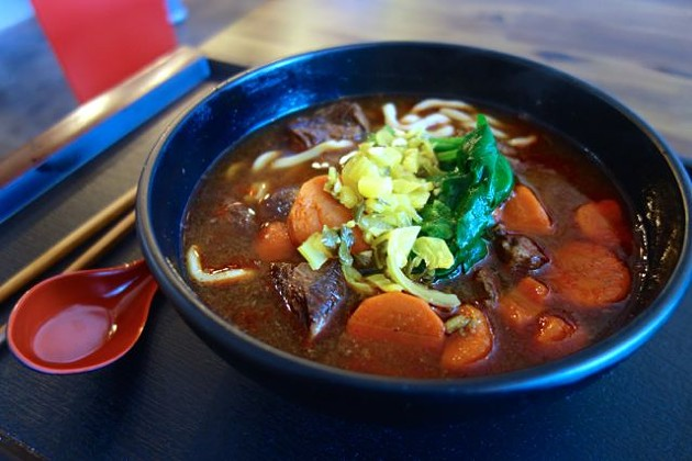 The beef noodle soup at Taiwan Bento. - FERRON SALNIKER