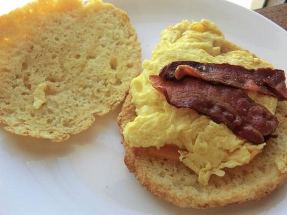 The breakfast sandwich at two-week-old Devil's Teeth Baking Company is already a favorite. - ALEX HOCHMAN