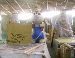 The bunny's sign reads, 'Welcome America's Cup.' You can't accuse this float of not being a civic booster - JOE ESKENAZI