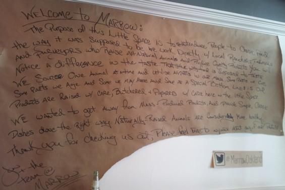 The butcher paper manifesto at Marrow. - PETE KANE