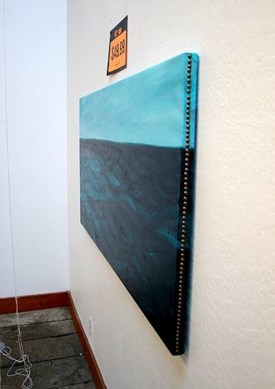 The calm blue composition of Gallup's paintings contradicts the violence to come.
