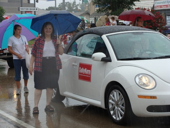 "The caption for this photo on Rep. Sally Kern's website: ""Shortly after Sally tripped in a pot hold and was really soaked from head to toe."" Uh huh."
