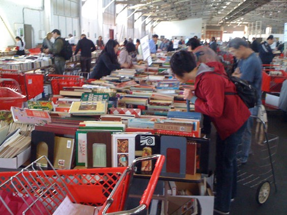 The cookbook table at the Big Book Sale today at noon. - JONATHAN KAUFFMAN
