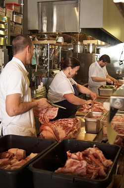 The crew at Merigan Sub Shop breaks down whole pigs for its meaty Italian sandwiches.