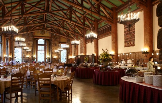 The Dining Room at The Ahwahnee set for Sunday brunch. - SANG AN
