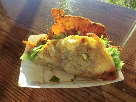 The equally cheesy steak taco. $3.25. - ALEX HOCHMAN